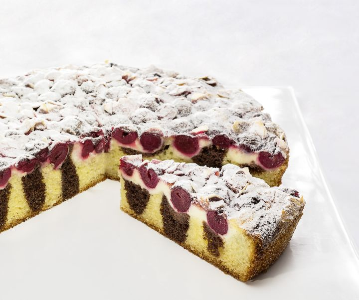 Marble pound cake with cherries