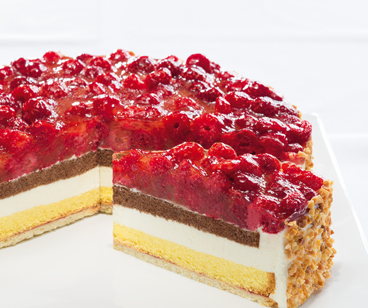 Raspberry cream cheese gateau