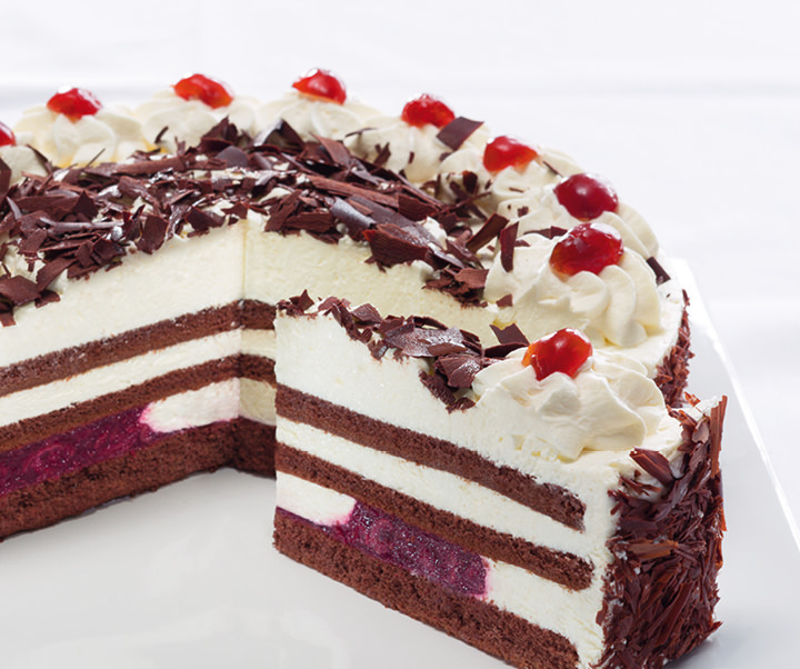 Original black forest gateau sliced