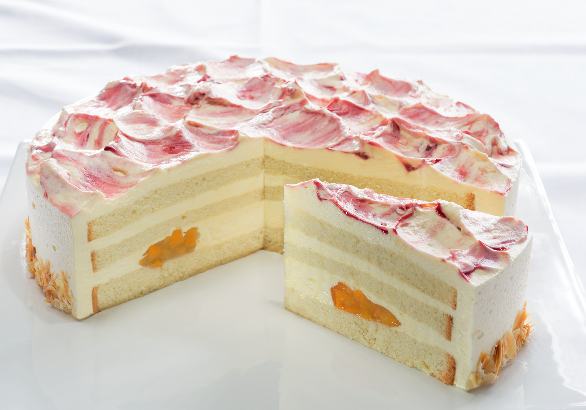 Peach Melba Cream Gateau