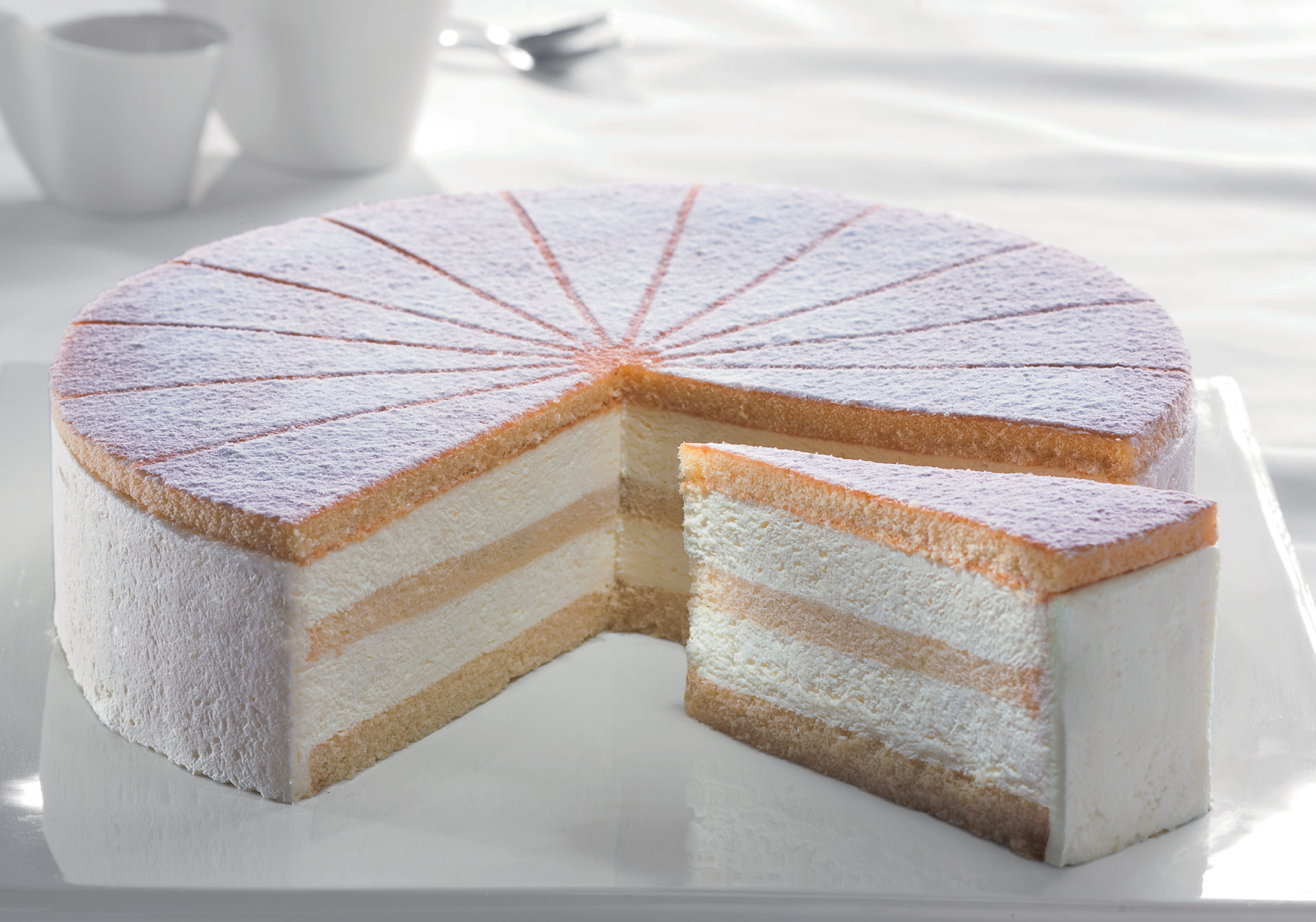 Cream Cheese Gateau Sliced