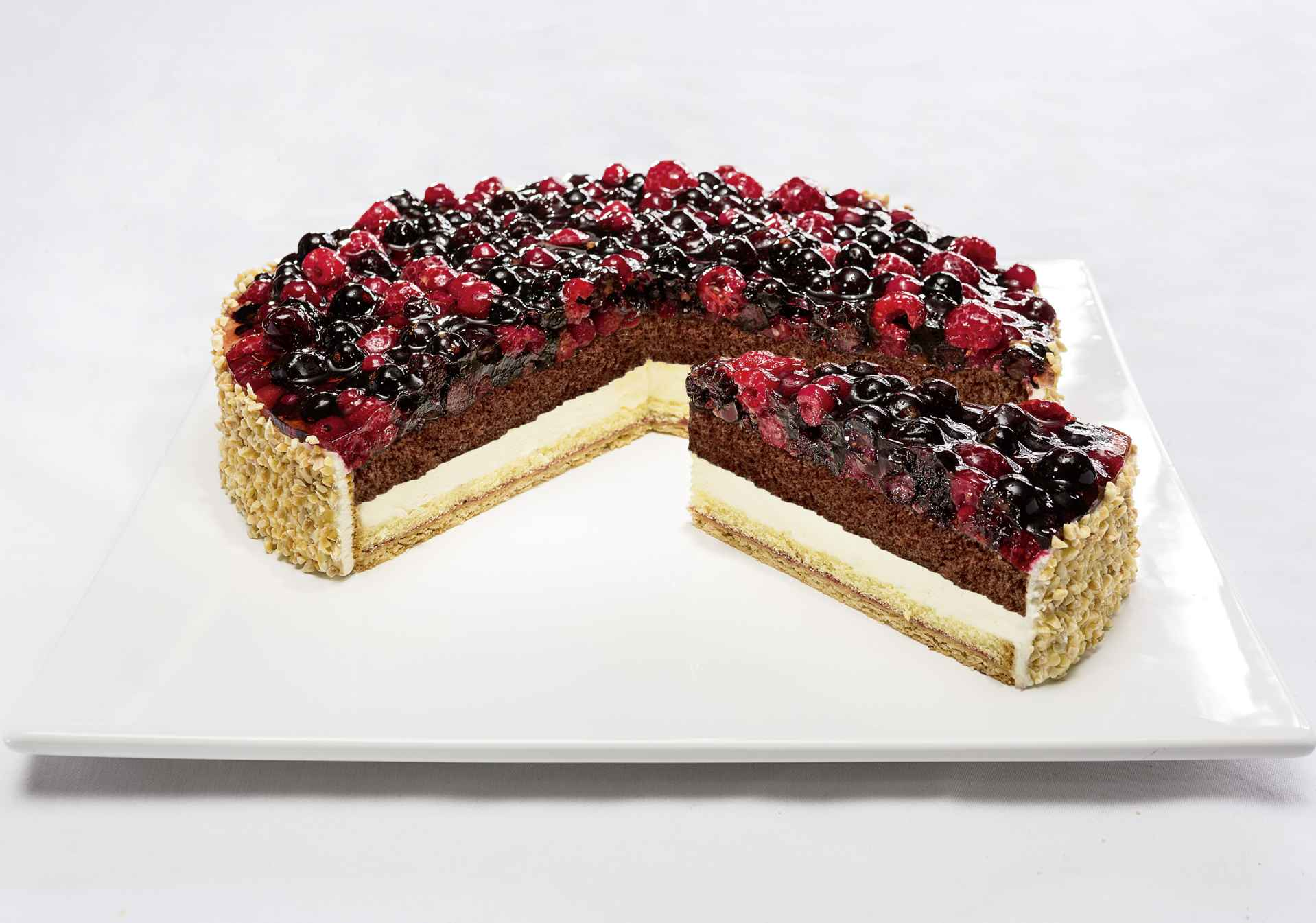 Wild berry cake with forest fruits