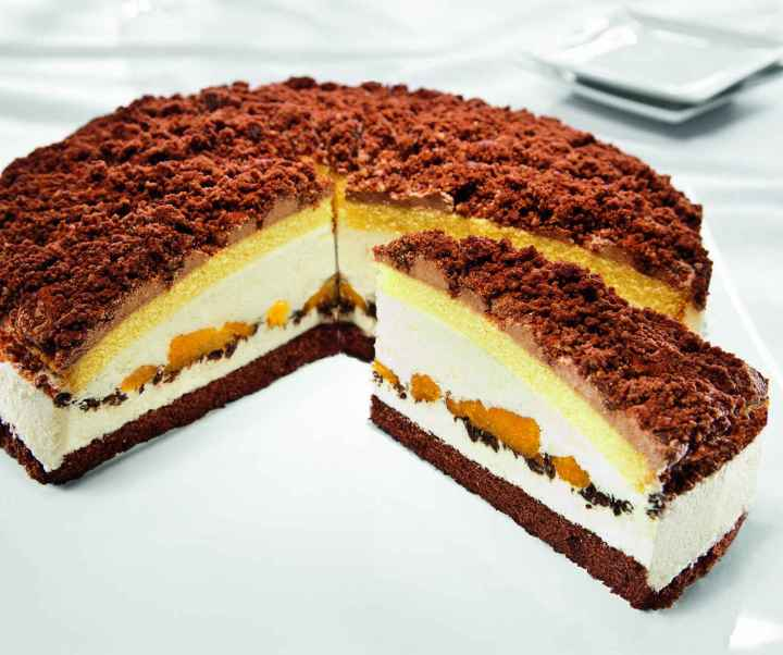 Tangerine and chocolate cream gateau