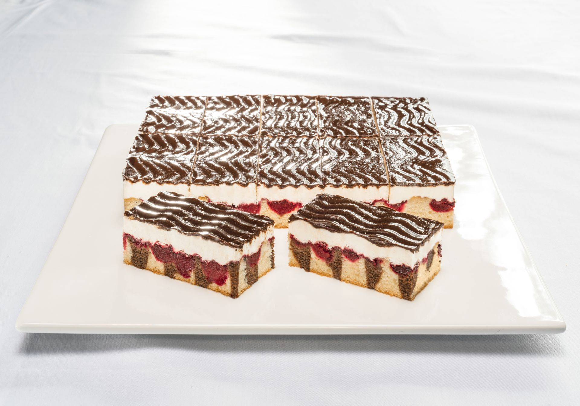 Premium Chocolate and Cherry Cream Slice 20 Portions